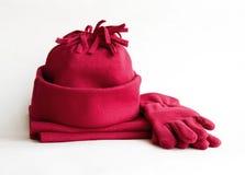 Capuchon, écharpe et gants Image stock