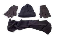 Capuchon, écharpe et gants de l'hiver Images libres de droits