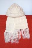 Capuchon et édredon tricotés. Images stock