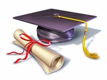 Capuchon et diplôme de chapeau de graduation Photographie stock