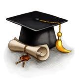 Capuchon et diplôme de graduation Photographie stock