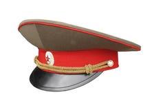 Capuchon russe d'officier d'armée d'isolement Photo stock