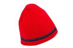 Capuchon tricoté rouge Images stock