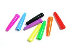 Capuchons en plastique de crayon lecteur photos libres de droits