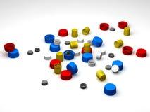 Capuchons en plastique multicolores illustration libre de droits