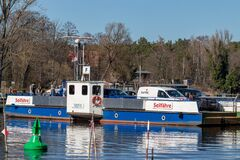 Free CAPUTH, Germany, Brandenburg, March 14, 2020. The Caputher Cable Ferry Called Tussy 2 For Cars And People Connects Caputh And Stock Photo - 180745550
