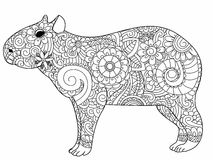 Capybara coloring vector for adults Royalty Free Stock Photos