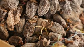 Caqui secado na venda no mercado de Geórgia, sobremesa saboroso saudável, close up do fruto video estoque