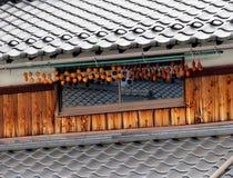 Caquis pendurados para fora para secar, Japão Fotos de Stock Royalty Free