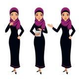 Carácter árabe de la mujer de negocios Tres diversas actitudes Foto de archivo