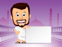 Carácter árabe del hombre en peregrinaje del jadye o de Umrah stock de ilustración