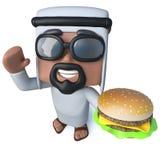 carácter árabe del jeque de la historieta divertida 3d que come una hamburguesa del queso Fotografía de archivo libre de regalías