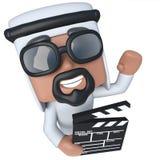 carácter árabe del jeque de la historieta divertida 3d que sostiene un clapperboard del fabricante de película libre illustration