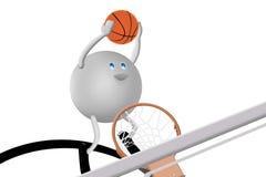 carácter 3D y baloncesto stock de ilustración