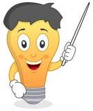 Carácter alegre de la bombilla con el indicador Fotografía de archivo libre de regalías