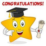 Carácter amarillo de la estrella con el sombrero de la graduación Imágenes de archivo libres de regalías