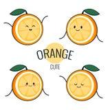 Carácter anaranjado de la historieta divertida con diversas emociones en la cara Etiquetas engomadas cómicas del emoticon fijadas Fotografía de archivo libre de regalías