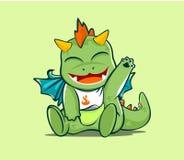 Carácter animado del dragón lindo del bebé para el diverso diseño stock de ilustración