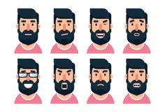 Carácter barbudo del hombre de la historieta con diversas expresiones faciales stock de ilustración