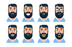 Carácter barbudo del hombre de la historieta con diversas expresiones faciales ilustración del vector