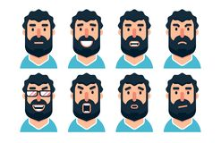 Carácter barbudo del hombre de la historieta con diversas expresiones faciales libre illustration