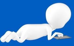 carácter blanco 3d que miente en el piso y que usa la tableta libre illustration