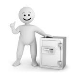 Carácter blanco de la sonrisa con la caja fuerte ilustración del vector