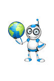 Carácter blanco y azul del robot Fotos de archivo