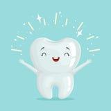 Carácter brillante sano lindo del diente de la historieta, ejemplo del vector del concepto de la odontología de niños ilustración del vector