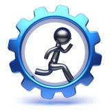 Carácter corriente del hombre dentro del trabajo del hombre de negocios de la rueda dentada Stock de ilustración