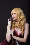 Carácter cosplay del anime del cantante hermoso Imagenes de archivo