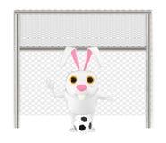 carácter 3d, conejo, posts de la meta y fútbol stock de ilustración