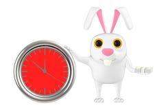 carácter 3d, conejo, un reloj y dinero en sus manos ilustración del vector