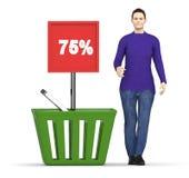 carácter 3d, mujer y una cesta con un tablero que exhibe el 75% en él Fotos de archivo libres de regalías