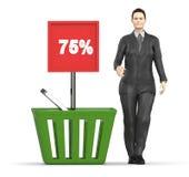carácter 3d, mujer y una cesta con un tablero que exhibe el 75% en él Fotografía de archivo libre de regalías