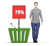 carácter 3d, mujer y una cesta con un tablero que exhibe el 75% en él Imagen de archivo libre de regalías