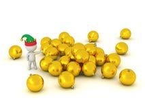 carácter 3D que muestra la pila de Golden Globes Fotos de archivo