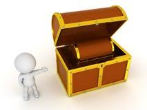carácter 3D que muestra un pequeño pecho dentro de un pecho más grande Imágenes de archivo libres de regalías