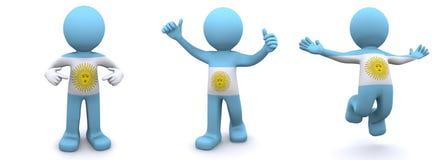 carácter 3d texturizado con la bandera de la Argentina stock de ilustración