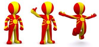 carácter 3d texturizado con la bandera de Macedonia Imagenes de archivo
