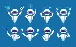 Carácter de Chatbot Robot en línea de la charla del robot lindo en diversas actitudes Sistema aislado vector de Chatterbot stock de ilustración
