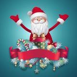 carácter de 3d Santa Claus con la etiqueta roja de la cinta