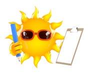 carácter de 3d Sun con el tablero y el lápiz Stock de ilustración