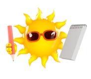 carácter de 3d Sun con una libreta y un lápiz Imagen de archivo