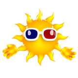 carácter de 3d Sun que lleva los vidrios 3d Fotografía de archivo