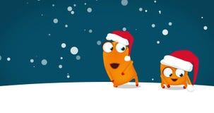 Carácter de dos Upsies Upsy que baila danza divertida loca de la Navidad en noche nevosa 4k, espacio para el texto, saludando el