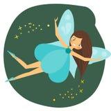 Carácter de hadas del vuelo hermoso con las alas azules Fotos de archivo