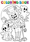 Carácter 9 de Halloween del libro de colorear stock de ilustración