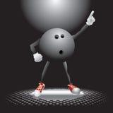 Carácter de la bola de bowling en la sala de baile Foto de archivo libre de regalías