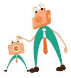 Carácter de la cámara Concepto del padre y del hijo Foto de archivo